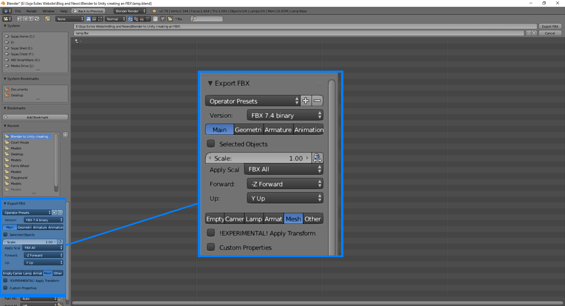 Blender to Unity Best FBX Format Settings - Soja Exiles